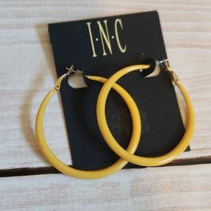 INC mustard  yellow hoop earrings